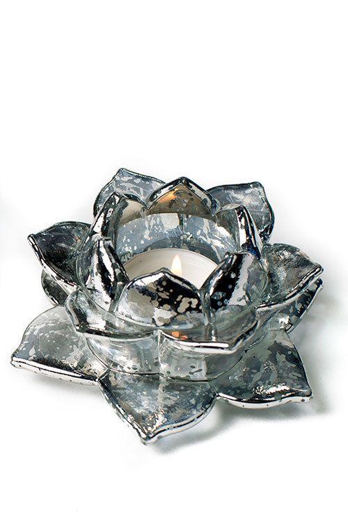 Mercury Glass Candle Holder Lotus - Mothology.com