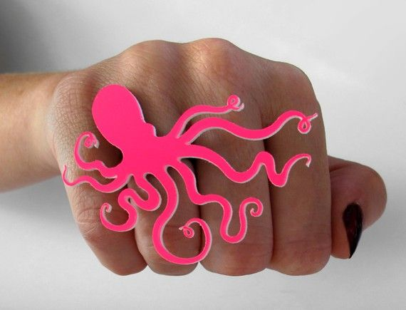 Funky Pink Octopus Ring