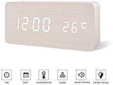 FIBISONIC LED Holz Wecker Modern Tischuhr Klein Standuhr Datum/Temperatur Anzeige Digital Wecker Weiß