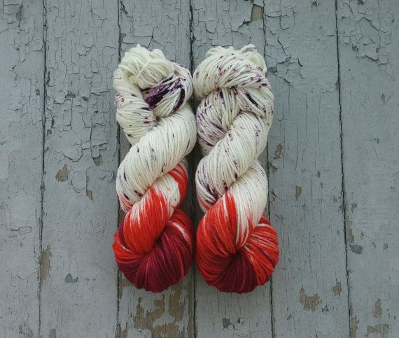 Hand dyed worsted weight yarn. This yarn is dyed in a vibrant burgundy…