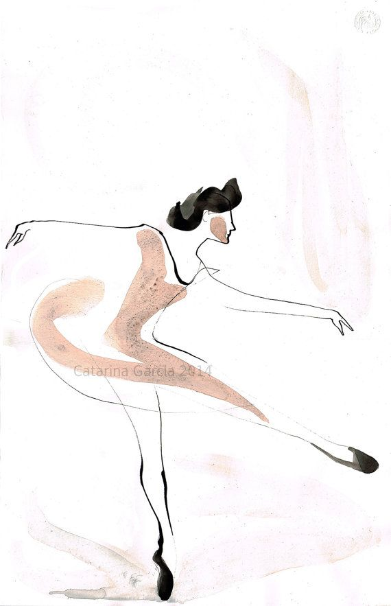 Original Ballet Dance Drawing – Watercolor and Ink on Paper by CatarinaGarciaArtes