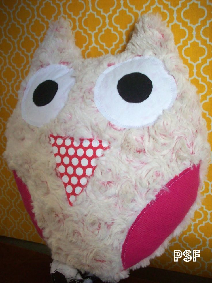 How To Make Cute Pillows Out Of Fabric : owl pillow made out of a soft fabric ... wings are made out of ribbed knit, eyes, nose and ...