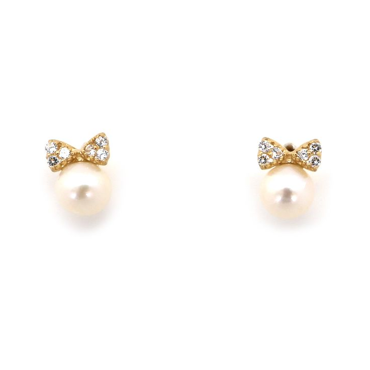 14k Yellow Gold Freshwater Cultured White Pearl with Small CZ Bow Stud Earrings with Baby Safe Screwbacks