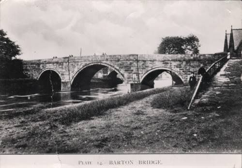 Barton Aqueduct (road bridge) All Saint's School on the right 1880. This was demolished when the ship canal was built.