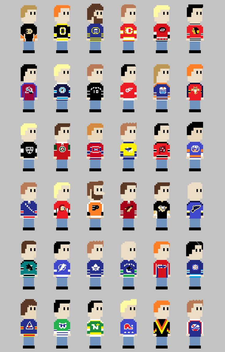 8 Bit NHL Jerseys... Not the biggest hockey fan but I thought this was pretty cool. ... Watch Hockey on your mobile FREE : http://www.amazon.com/gp/mas/dl/android?asin=B00FVD65JG