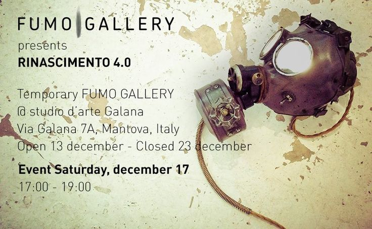 New event @fumogallery Temporary fumogallery @ Galana Studio d'Arte Via Galana, 7A, Mantova , Italy From 13th December - To 23rd December everyday from 2 to 7.30 pm EVENT WITH THE ARTISTS ON SATURDAY 17th DECEMBER 5 - 7 pm  #event #art #design #artwork #photography #installation #fashion #bags #t-shirt #artist #homegallery #bestlocation ##bestartist #bestevent #gallery #buyart #contemporaryphotography #shop #conceptstore #fumogallery