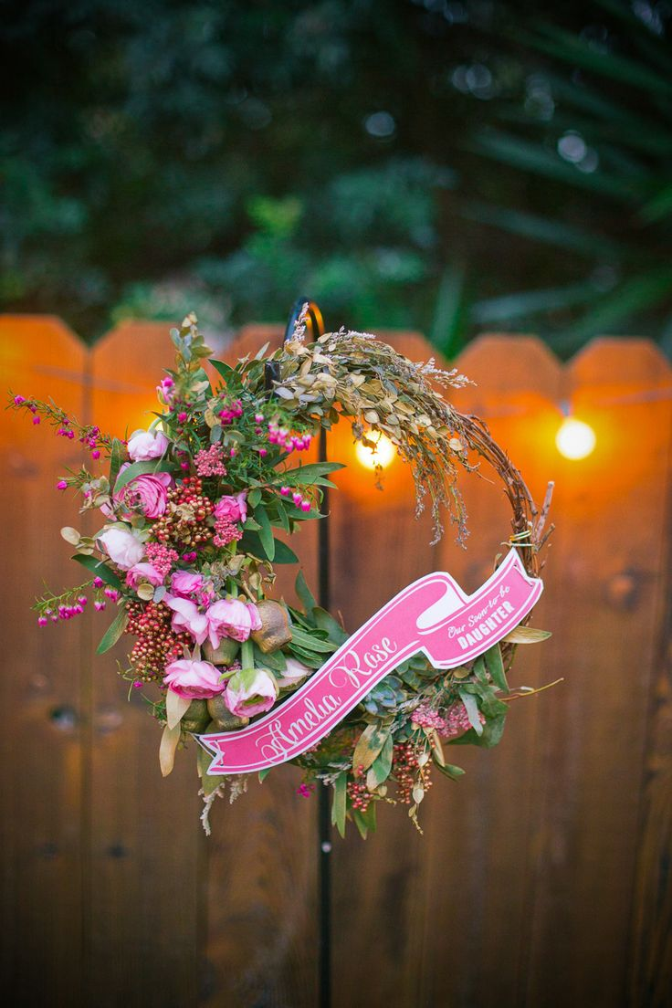Sweet floral wreath for a whimsical baby shower