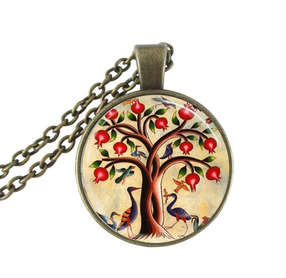 Tree of Life Necklace Birds and Pomegranate Fruit Tree Nature Art Pendant with Ball Chain Included