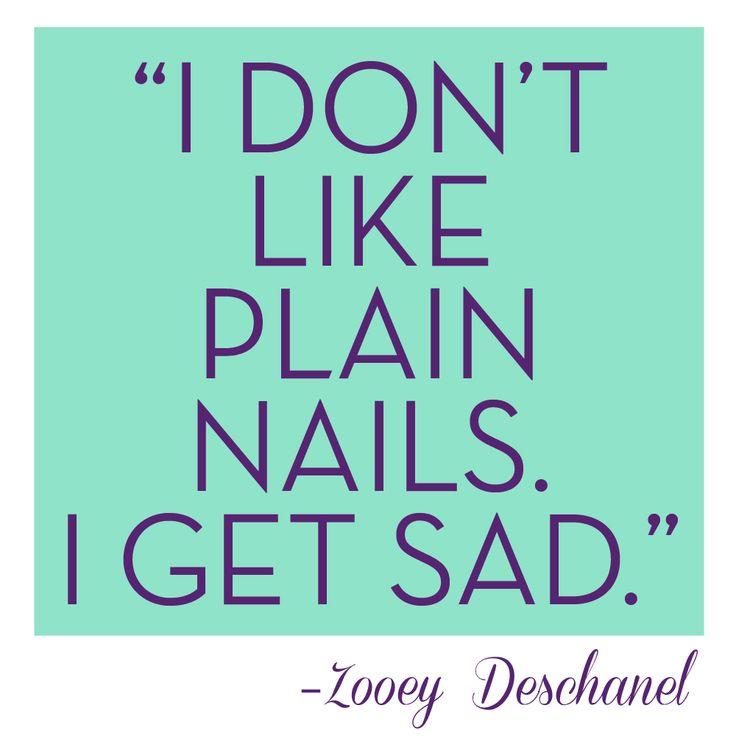"""I don't like plain nails. I get sad."" –Zooey Deschanel #Nail #Magna #nails  Get Tips & Tricks here!"
