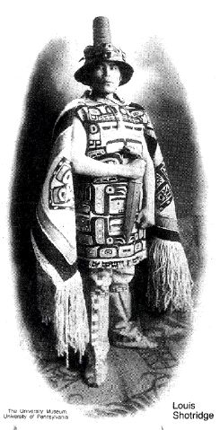 "Louis Shotridge was born about 1882 into a noble Tlingit family and grew to be a bright, handsome youth. His grandfather was a famous Chilkat chief known as Chartrich, and his father was George Shotridge, or Yeilgooxu (""Yel-goo-hu""), the keeper of the Whale House at the turn of the century. Under the matrilineal system of the Tlingits, Louis was born into his mother's clan, the Kaagwaatan, on the Eagle side."