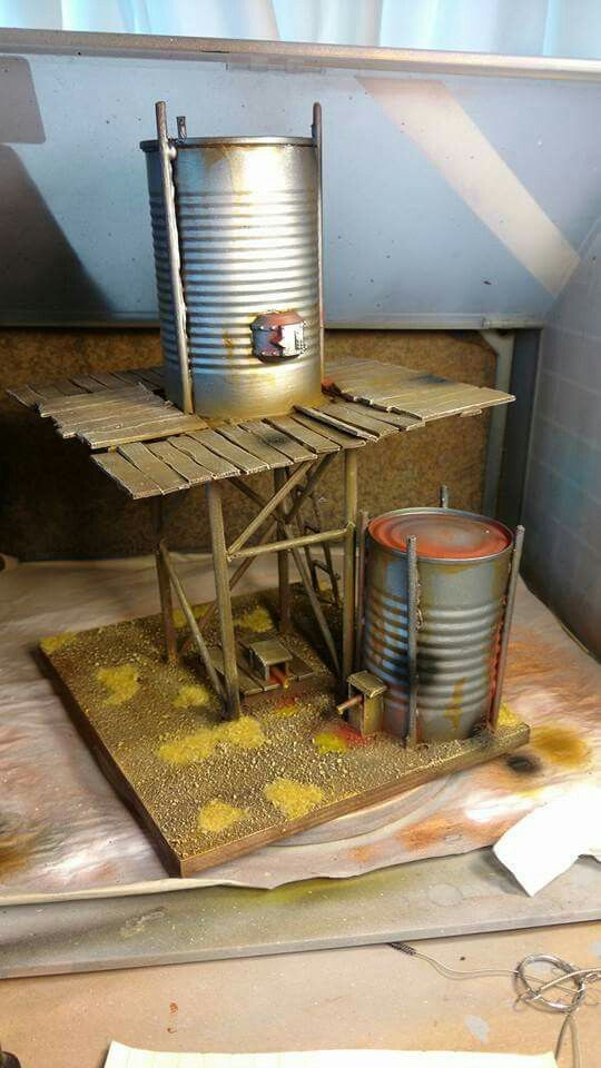 Adam constructed a sweet little water tower for our Malifaux table.