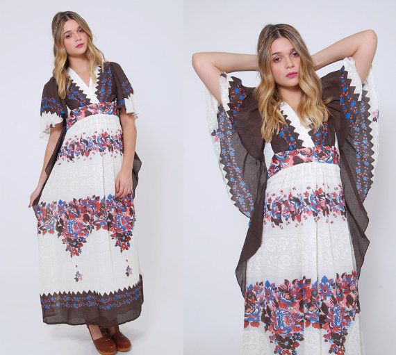Vintage 70s FLORAL Maxi Dress BUTTERFLY Sleeve Boho Dress Printed Hippie Dress GRADIENT Floral Festival Dress
