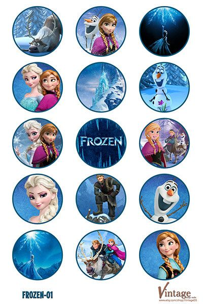 Disney Frozen Birthday party Bottle Cap Images digital file girl boy DIY 1 inch (water)