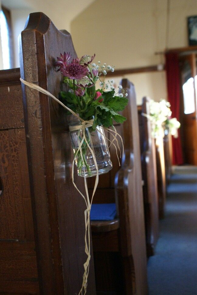 Pew ends, country church wedding by frances&rose