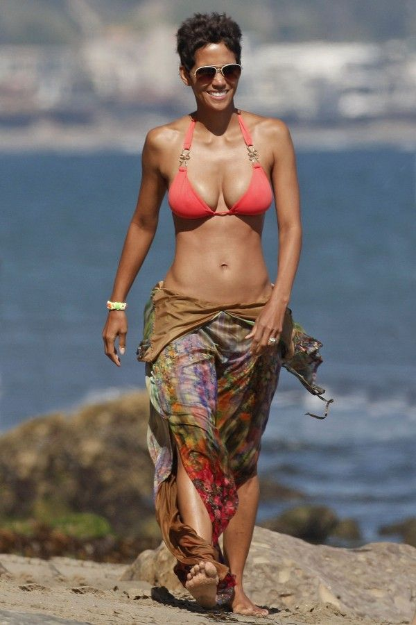 Halle Berry in a peach bikini top