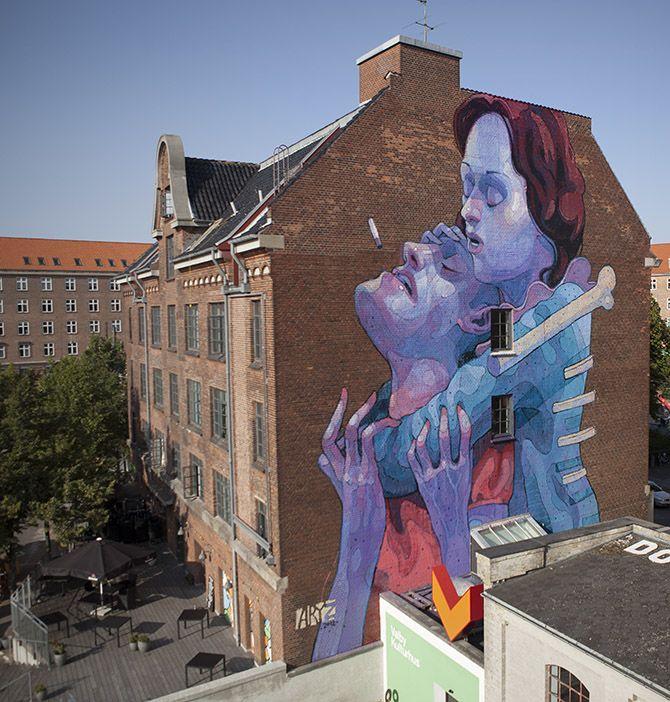 Struggle-Aryz  Facade of building  Copenhaguen, Denmark.  2012