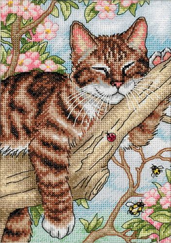 Napping Kitten cross stitch by Debbie Cook - Google Search