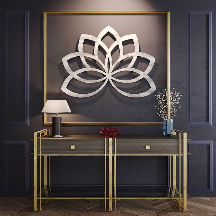 Geometric Lotus Flower Metal Wall Art, Metal Flower Wall Art, Large Metal Wall Sculpture, Contemporary Metal Wall Art, Silver Wall Art, by ArteAndMetal on Etsy