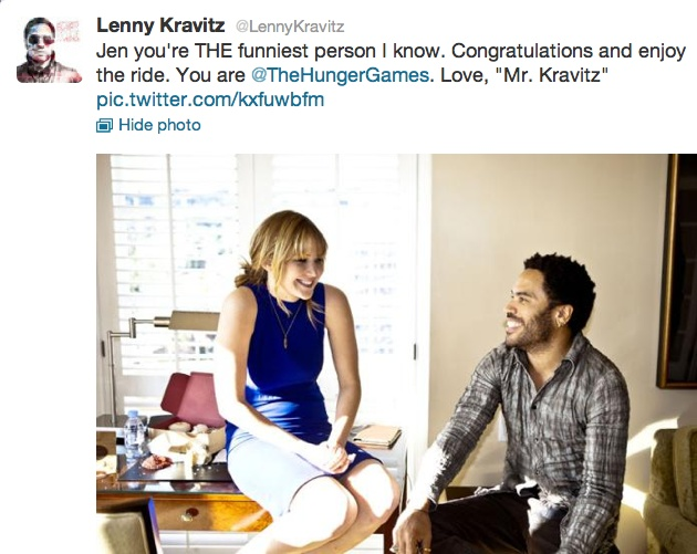 Lenny Kravitz (who was a PERFECT Cinna in my opinion) has been tweeting pictures of himself and The Hunger Games cast this past week. Love this one of him and Jen.