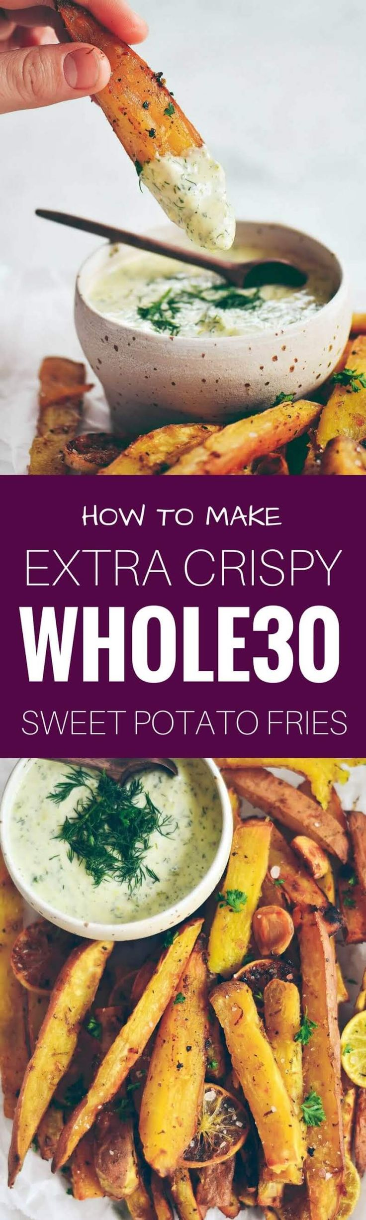 Extra crispy sweet potato fries and dipping sauce. Baked sweet potato fries. Easy sweet potato fries. Easy whole30 snacks. Paleo sweet potato fries recipe. Healthy sweet potato fries. Easy whole30 dinner recipes. Whole30 recipes. Whole30 lunch. Whole30 re http://healthyquickly.com