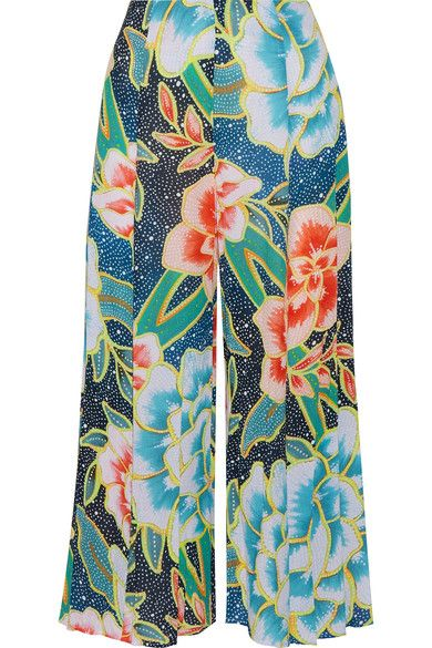 Mara Hoffman's pants are printed with the label's kaleidoscopic 'Arcadia' motif. Cut from breezy crinkled-voile, this cropped pair sits on the natural waist with a wide elasticated band. Wear yours poolside with the coordinating bikini.
