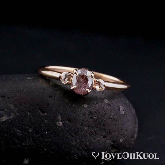 Rose Gold Natural Pink Diamond Ring Rose Cut Diamond 3