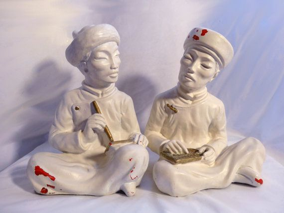 Happy Chinese New Year - Vintage Asian Bookends / Statues 1950's Decor by jazzjodi, $100.00