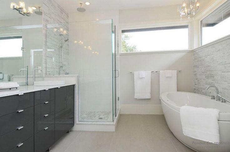 Светло-серый с темно-серым и  белым - чудесное сочетание для ванной комнаты
