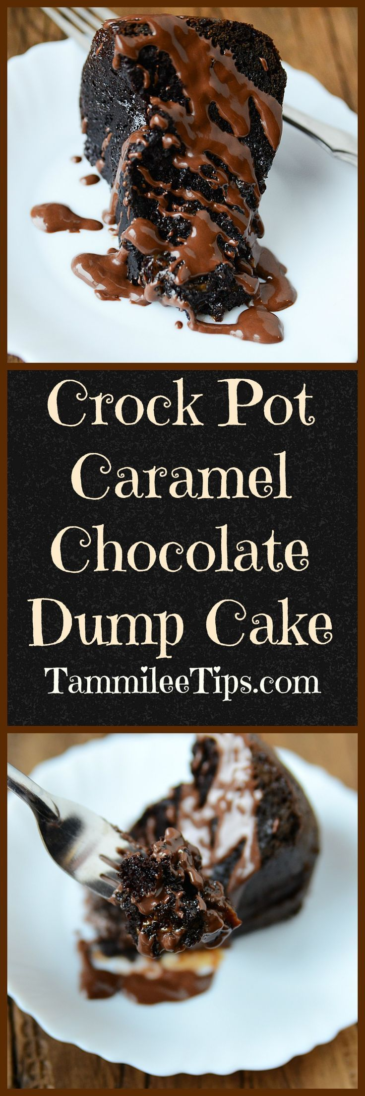 Crock Pot Chocolate Caramel Dump Cake Recipe! This slow cooker cake recipes is…