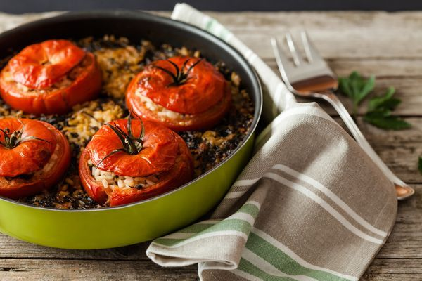 Gemista (Γεμιστά): Baked stuffed vegetables. Usually tomatoes, peppers, or other vegetables such as potato and zucchini, hollowed out and baked with a rice and herb filling. Minced meat is also commonly used in the filling.