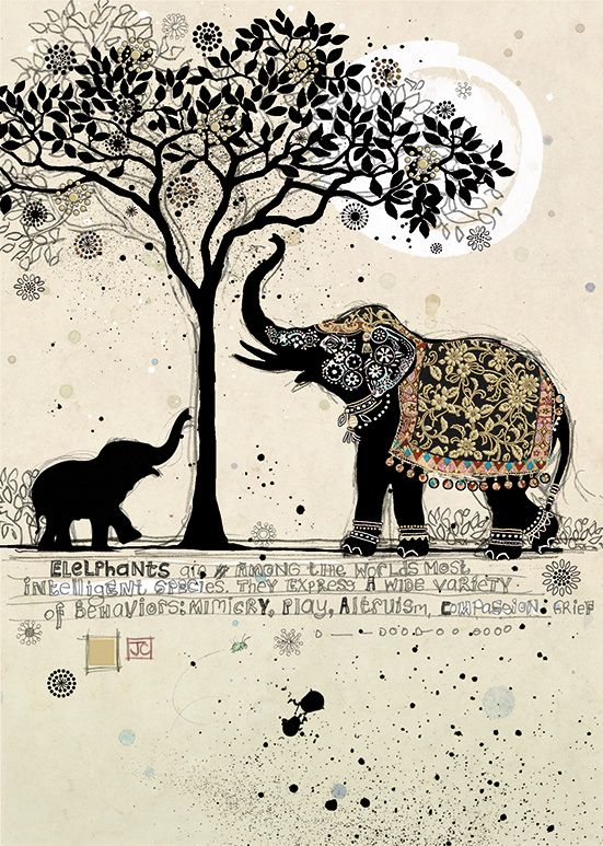 Bug Art H013 Black Elephants greetings card