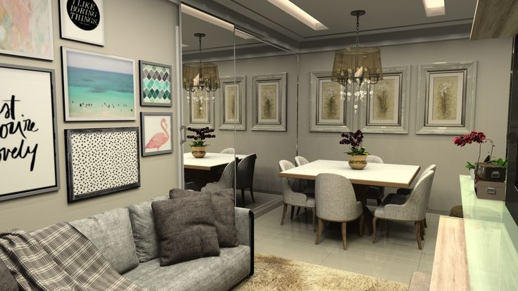 sala de jantar com espelho na parede e porta de passagem em espelho