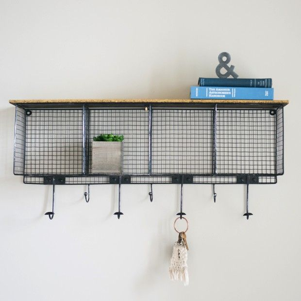 rustic industrial wall hook rack