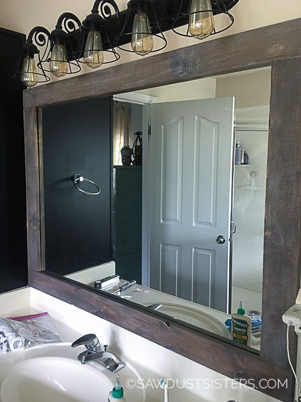 One Of The Quickest And Easiest Ways To Add Character To A Boring Bathroom Is To Add A Bathroom Mirrors Diy Diy Mirror Frame Bathroom Bathroom Mirror Makeover
