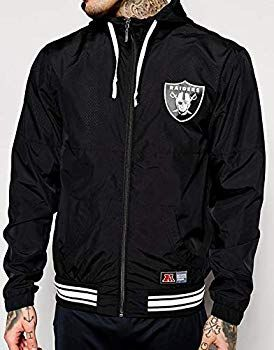 dc1e586aa11 Majestic Athletic Ricker Windrunner Oakland Raiders NFL Jacket Wind Breaker  (A6ORA6511BLK001). Sizes - XS. Colour - Black.  Amazon.co.uk  Clothing