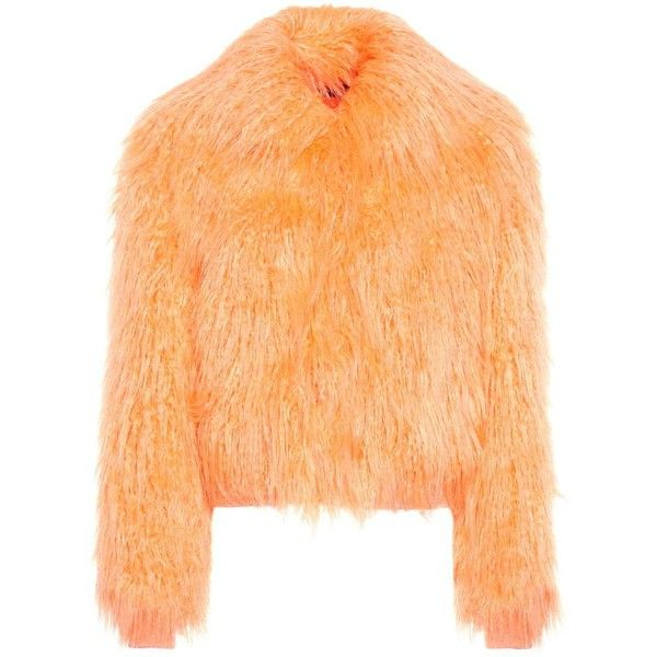 Sies Marjan Muffy Faux-Fur Jacket ($1,655) ❤ liked on Polyvore featuring outerwear, jackets, orange, beige jacket, orange jacket, faux fur jacket and fake fur jacket