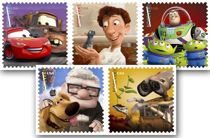 Lightning McQueen and Mater from Cars (2006); Remy the rat and Linguini from Ratatouille (2007); Buzz Lightyear and two of the green, three-eyed aliens from Toy Story (1995); Carl Fredricksen and Dug from Up (2009); and the robot WALL*E from WALL*E (2008)