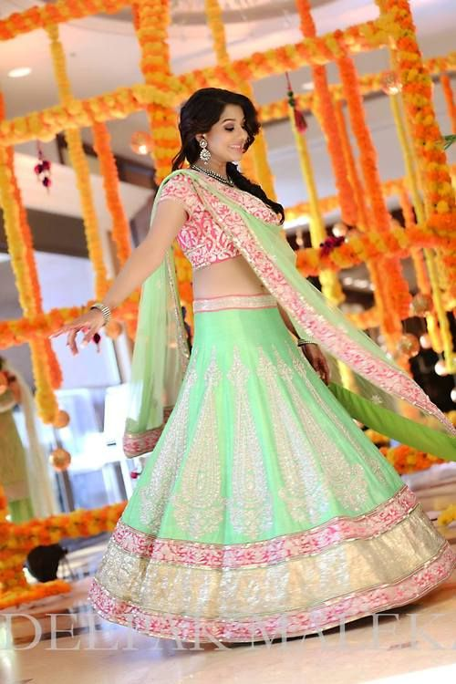 gorgeous #Lehenga in pastel shades