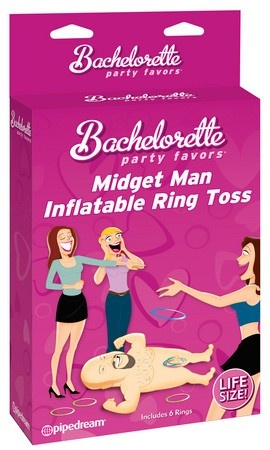 Bachelorette Party Favors Midget Man Inflatable Ring Toss , $20.70 Make the girls last night out an unforgettable one with these hilarious Bachelorette party favors. We design, create, and innovate the best novelties and party gifts in the world. Our pledge is simple: We guarantee to make 'em laugh! It's not a party without Pipedream Products!