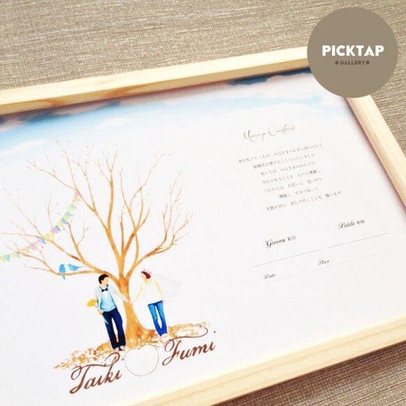 お台紙のみのお届けです。飾っていただく際はお好きな額をご用意下さい*(作品の特徴) ●ゲスト参加型の結婚証明書受付スペースにウェルカムボードとして利用していただく方にも人気のデザインです●参加人数20-100(最大)名様まで捺印可能(90-100名様の場合は、紙に対して木の大きさを大きくします。)木の枝だけのシルエットに捺印(及びサイン)やスタンプをいただいてオリジナルツリーを作ります。楽しくゲスト様をお迎えできるような遊び心のあるアイテムです。 ペットさんがおられる方にも人気のデザインです。■picktapからのひとこと■宣誓文、人物、新郎新婦のサイン欄など、たくさんの要素が入っているデザインですので、スタンプインクは単色か多くても4色までがおすすめです。緑や黄緑のインク(同系色)のスタンプだと出来上がりはスッキリと綺麗です。<新しくお写真をご用意いただく時の注意点> 夜撮影× プリクラ× 足先から頭まで途切れていないお写真をご用意ください。 目の高さとカメラのレンズが平行にお撮りいだくとサンプル画像のようになじみよく仕上がります。…