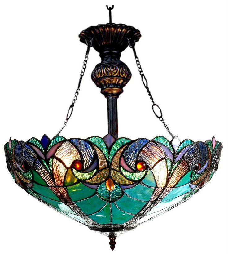 Features:  -306 Pieces glass cut.  -18 Pieces cabochon.  -Hardwired.  -Uplight.  -Indoor setting.  -Victorian collection.  Fixture Type: -Inverted pendant.  Style: -Tiffany.  Shade Material: -Metal.