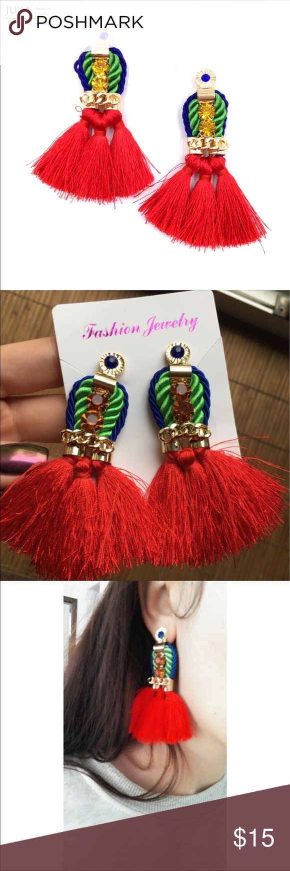 💃🏻🌴BEAUTIFUL RED TASSEL EARRINGS💃🏻🌴 Gorgeous multi color red tassel festival earrings. Never worn. NWT. BRAND NEW! KEPT IN A SMOKE AND PET FREE ENVIRONMENT!💕♥️ Macy's Jewelry Earrings