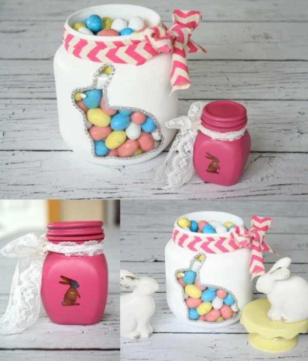 Bocaux de Pâques vintage.  10 Décorations de Pâques avec des bocaux en verre