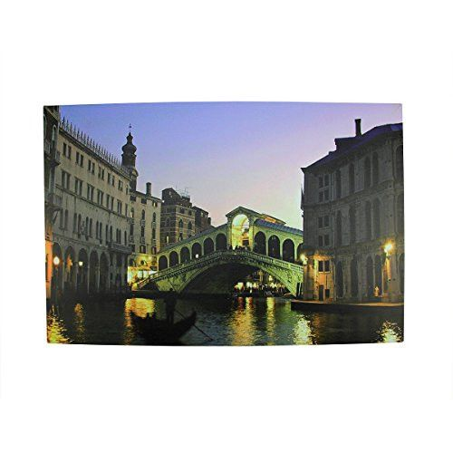Felices Pascuas Collection LED Lighted Venice City Italy Nighttime Scene Canvas Wall Art 15.75 inch x 23.5 inch