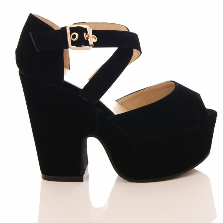 Details about LADIES WOMENS CHUNKY HIGH HEEL DEMI WEDGE PLATFORM