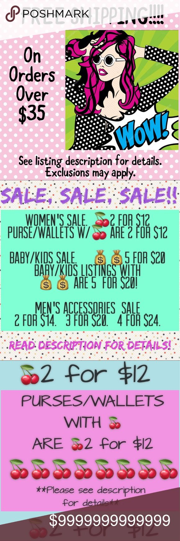 FREE SHIPPING ON ORDERS OVER $35!!! Free shipping on orders over $35.  Make a bundle & offer $7 less!  That's free shipping + $.51 off! 😊. Exclusions apply:  Cannot be combined w/ women's purse sale 🍒 2 for $12, men's tie sale or baby sale 💰💰 5 for $20.  I can be flexible,  if you have sale items & regular priced items I may be able to offer free shipping. If not I counter. Please keep in mind bigger bundles may require extra shipping charges that could be passed onto the buyer when…