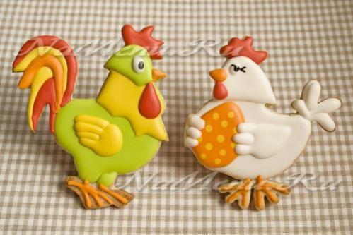 Пасхальное печенье «Петух и курочка»