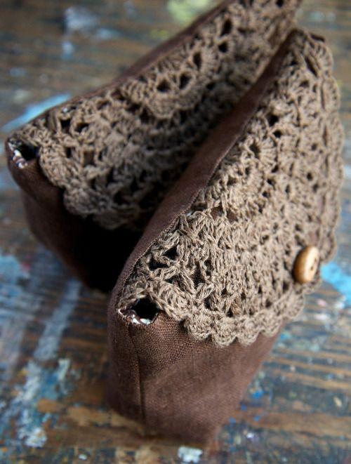 Linen clutch, pouch, purse, make-up bag – crocheted element…