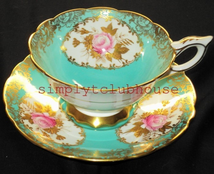 Royal stafford england blue gold rose aqua turquoise wide tea cup and saucer =