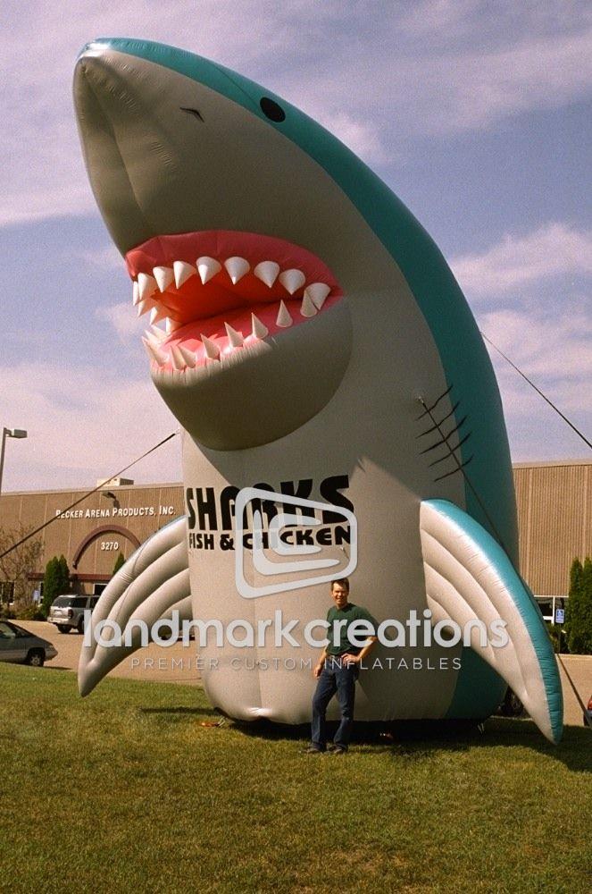 Shark S Fish Chicken Inflatable Shark Mascot Giant Inflatable Sharks Sharks Fish And Chicken Shark Fishing Fish And Chicken
